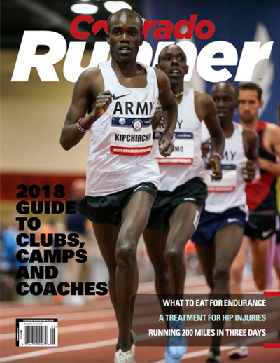 Several runners running around a track on the cover of Colorado runner.